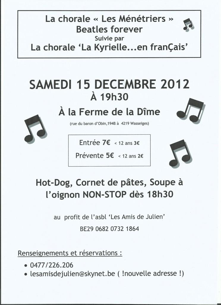 2012-12-15 - Affiche Concert Beatles à Wasseiges