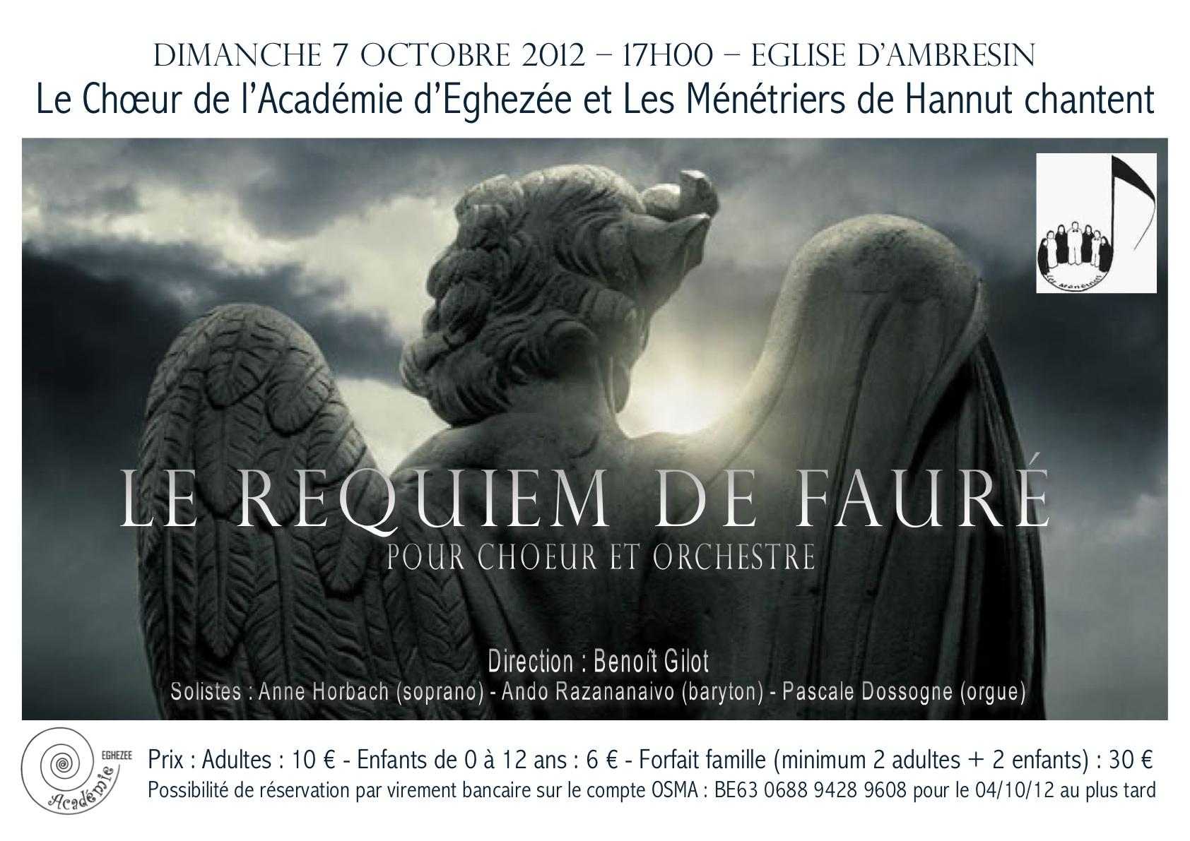 2012-10-07 - Affiche du concert du Requiem Fauré à l'Église Saint-Martin d'Ambresin